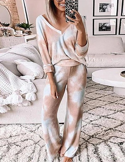 cheap Pajamas-Women's Basic Set - Rainbow Pant