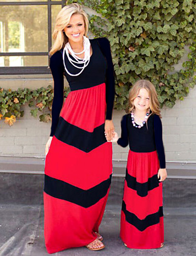 cheap Family Matching Outfits-Mommy and Me Sweet Boho Black & Red Color Block Print Long Sleeve Maxi Dress Black
