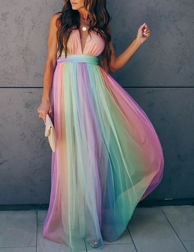cheap Boho Dresses-Women's Swing Dress Maxi long Dress Rainbow Sleeveless Striped Summer Deep V Hot Elegant 2021 S M L XL XXL