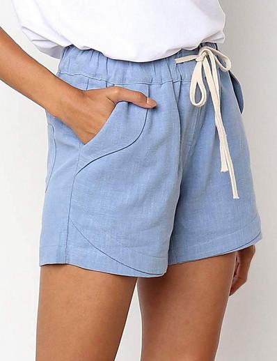 abordables Bas pour femmes-Femme basique Short Pantalon Couleur Pleine Kaki Vert Beige Gris Bleu clair