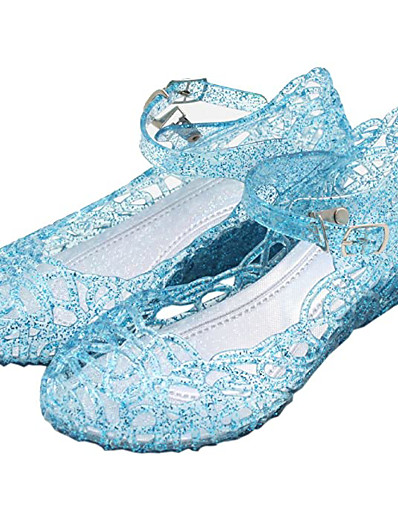 cheap Movie & TV Theme Costumes-Princess Cinderella Elsa Masquerade Jelly Shoes Girls' Movie Cosplay Flat Cosplay Mary Jane White Purple Red Shoes Carnival Masquerade