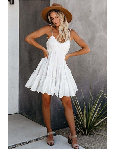 cheap Mini Dresses-Women's Strap Dress Short Mini Dress White Blushing Pink Sleeveless Solid Color Summer Elegant 2021 S M L XL