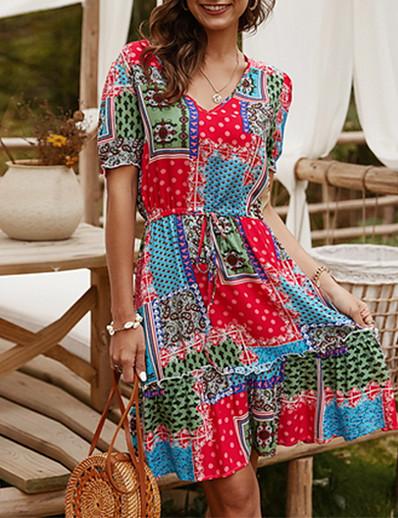 cheap Summer Dresses & Boho-2020 Tredngs Summer Casual Printed Dress