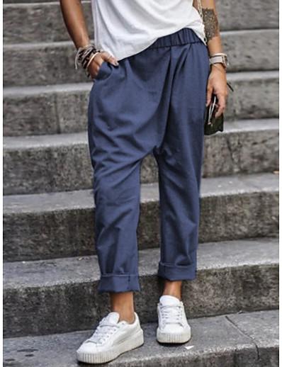 abordables Pantalons et Jupes Femme-Femme basique Ample Chino Pantalon Couleur Pleine Noir Vert Véronèse Kaki