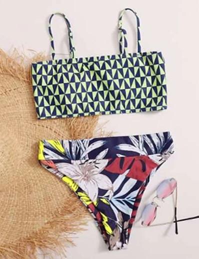 cheap SWIMWEAR-Women's Basic Strap Halter Cheeky High Waist Tankini Swimwear Swimsuit - Geometric Tropical Print S M L Rainbow