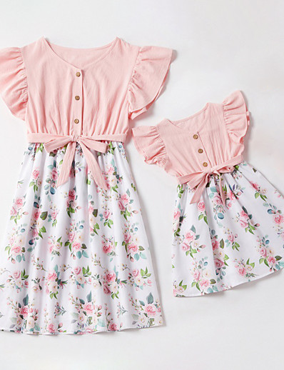 cheap Family Matching Outfits-Mommy and Me Vintage Sweet Floral Color Block Ruffle Print Drawstring Sleeveless Above Knee Dress Blushing Pink