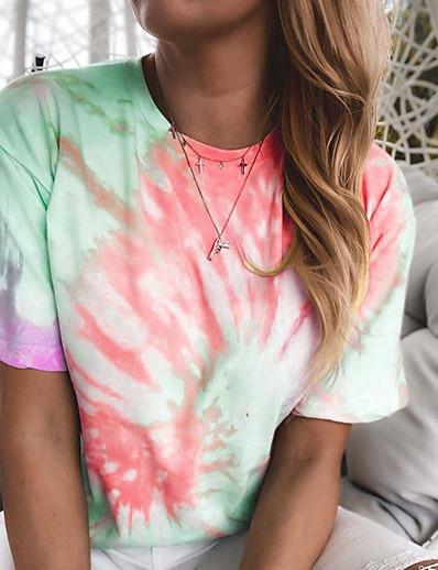 cheap Print T-Shirts-Women's T-shirt Tie Dye Round Neck Tops Basic Top Blue Purple Yellow