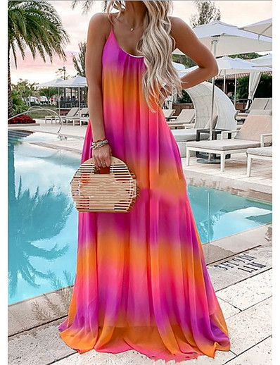 cheap Plus Size Dresses-Women's Chiffon Dress Maxi long Dress - Sleeveless Rainbow Print Summer Plus Size Mumu Holiday Beach Loose 2020 Red Yellow Green Gray Light Blue S M L XL XXL XXXL