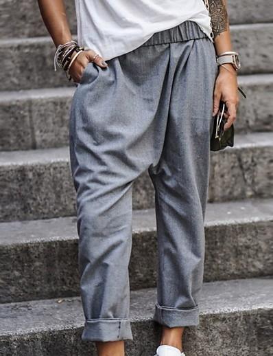 abordables Bas pour femmes-Actif basique Femme Chino Plein Air Quotidien Habits de travail Pantalon Couleur Pleine Classique Noir Bleu Kaki Vert Gris