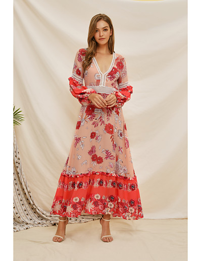 cheap Elegant Dresses-Women's Swing Dress Maxi long Dress - Long Sleeve Floral Patchwork Print Summer Fall Elegant Mumu Going out Beach 2020 Red S M L XL XXL