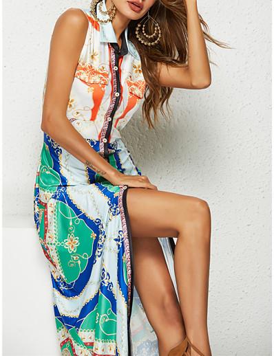 cheap Summer Dresses-Women's Asymmetrical Shirt Dress - Sleeveless Rainbow Print Shirt Collar Boho Rainbow S M L
