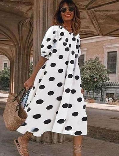 cheap Knee-Length Dresses-Women's A-Line Dress Midi Dress - Half Sleeve Polka Dot Summer Work Cap Sleeve 2020 White Black Navy Blue Light Blue S M L XL XXL
