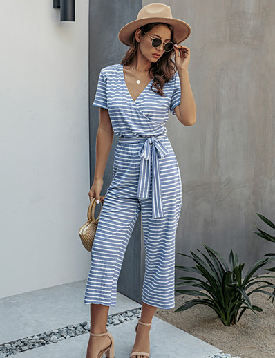 cheap Jumpsuits & Rompers-Women's Blue Black Red Jumpsuit Striped