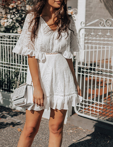 cheap Lace Dresses-Women's Lace Short Mini Dress White Half Sleeve Solid Color Summer V Neck Elegant 2021 S M L XL