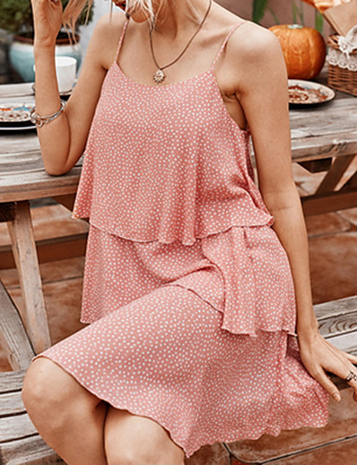 cheap Casual Dresses-Women's Sheath Dress - Sleeveless Polka Dot Summer Elegant 2020 White Blue Blushing Pink S M L XL