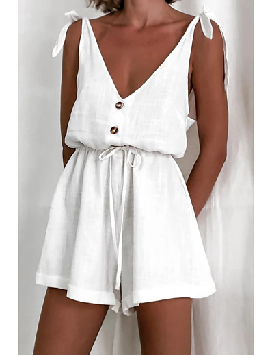 cheap Jumpsuits & Rompers-Women's Ordinary Basic Strap White Romper Color Block Solid Colored Drawstring