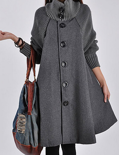 cheap Coats & Trench Coats-Women's Single Breasted Turtleneck Fall Coat Long Solid Colored Daily Patchwork Black Red Gray M L XL / Winter