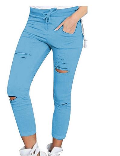 abordables Bas pour femmes-Femme basique Chino Pantalon Couleur Pleine Blanche Noir Vin Vert Véronèse Gris