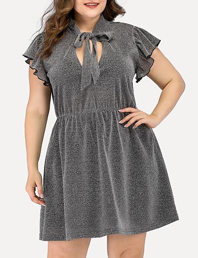 cheap PLUS SIZE-Women's A-Line Dress Short Mini Dress - Short Sleeve Solid Color Ruched Split Summer V Neck Plus Size Casual Elegant Going out 2020 Gray L XL XXL 3XL 4XL
