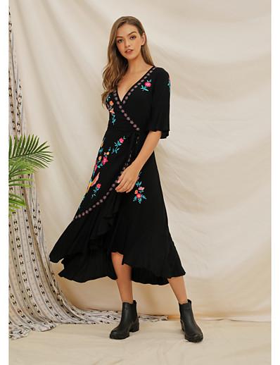 cheap Vintage Dresses-Women's Swing Dress Maxi long Dress - Half Sleeve Floral Split Summer Vintage Mumu 2020 Black XXS XS S M L