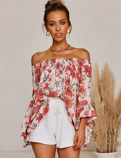 cheap Blouses & Shirts-2020 SUMMER Off The Shoulder Floral Print Top