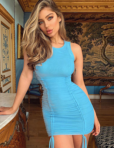 cheap Bodycon Dresses-Women's Sheath Dress Short Mini Dress - Sleeveless Solid Color Ruched Summer Elegant Going out 2020 Blue S M L