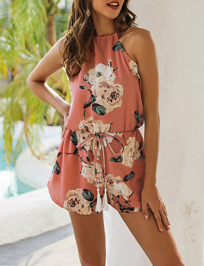 cheap CLOTHING-Summer Floral Print Halter Jumpsuit