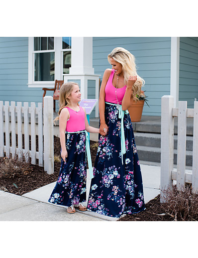 cheap Family Matching Outfits-Mommy and Me Basic Boho Floral Lace up Patchwork Print Sleeveless Maxi Dress Fuchsia