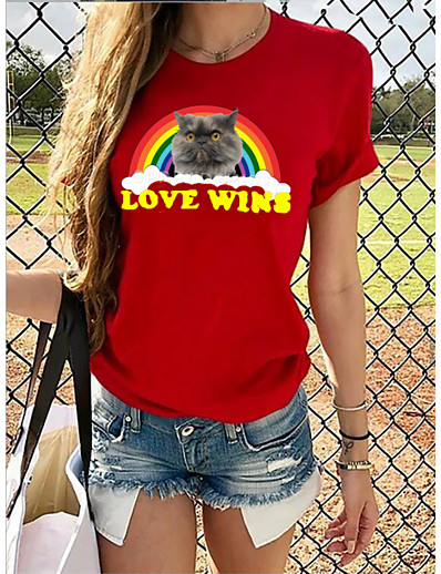 cheap TOPS-Women's Rainbow Graphic Pride Day Print T-shirt Basic Casual / Daily Red