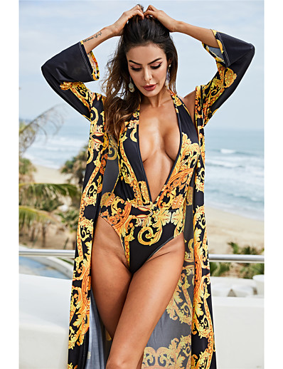 cheap One-Pieces-Women's Sexy Swimsuit Tribal Print Halter Normal Swimwear Bathing Suits Yellow