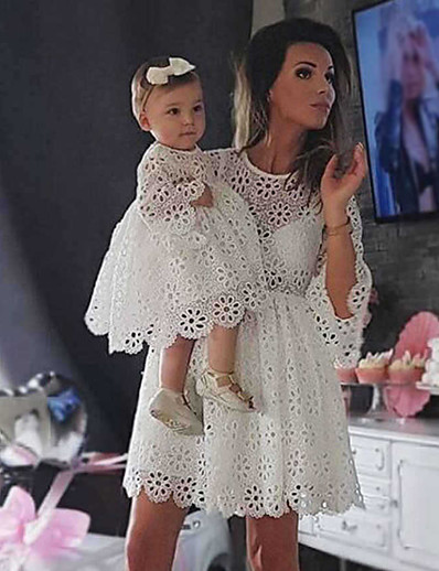 cheap Family Matching Outfits-Mommy and Me Family Matching Outfits Dress Party Family Gathering Solid Colored Flower Half Sleeve Hollow Out Lace Hole White Knee-length Children's Day Wedding Flowers Sweet Boho