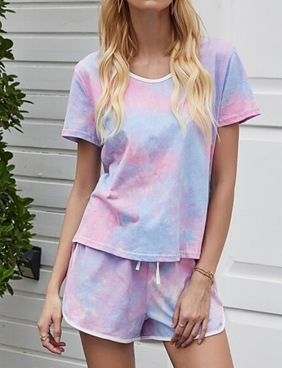 cheap CLOTHING-Summer Tie Dye One Piece Sets Pajamas