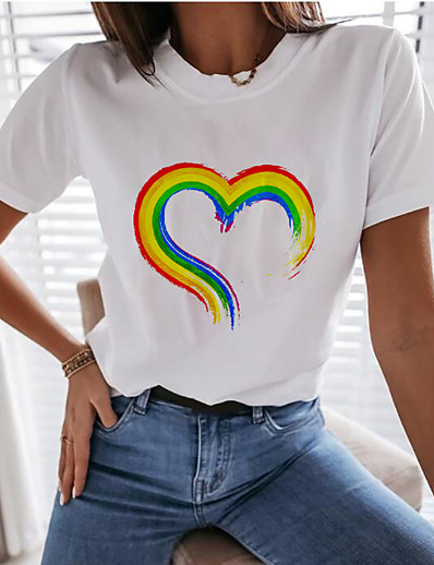 cheap TOPS-Women's Rainbow Graphic Pride Day Print T-shirt Basic White