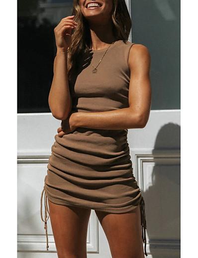 abordables Robes moulantes-Femme 2020 Vert Marron Eté Robe Simple Quotidien Gaine Couleur unie Ruché S M