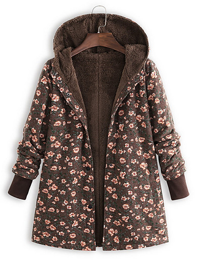 cheap OUTERWEAR-Women's Parka Parka Ethnic Style Floral Polyester Green / Brown / Navy Blue S / M / L