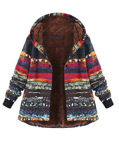 cheap Coats & Trench Coats-Women's Winter Parka Parka Ethnic Style Color Block Polyester Red S / M / L