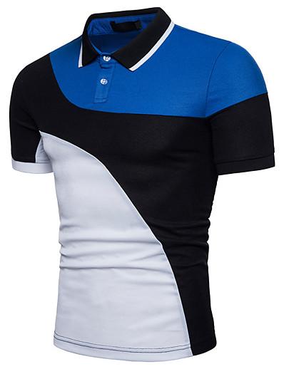 cheap MEN-Men's Polo Color Block Patchwork Short Sleeve Daily Tops Basic White Black
