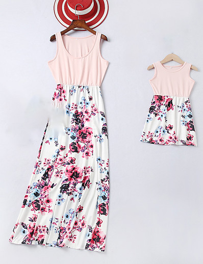 cheap Family Matching Outfits-Mommy and Me Sweet Boho Rose Floral Print Sleeveless Maxi Dress Blushing Pink