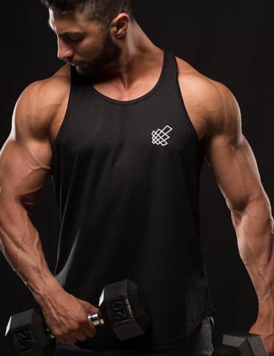 cheap Running, Jogging & Walking-Men's Sleeveless Workout Tank Top Running Tank Top Running Singlet Top Summer Cotton Quick Dry Breathable Soft Fitness Gym Workout Active Training Jogging Sportswear Solid Colored Black Blue Red