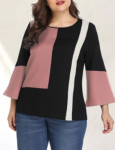 cheap Plus Size Tops-Women's Plus Size Color Block Black & Red Patchwork Blouse Basic Street chic Daily Going out Blushing Pink / Green