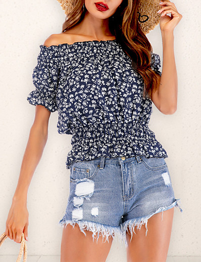 cheap 05/25/2020-Women's Floral Ruffle Blouse Boho Daily Going out Off Shoulder Blue