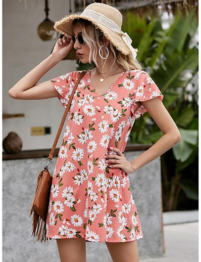 cheap Summer Dresses & Boho-Women's Sundress Daisy Short Mini Dress - Short Sleeves Floral Ruffle Summer Elegant Mumu Holiday Going out 2020 Blushing Pink S M L XL