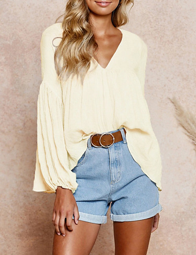 cheap Blouses & Shirts-Women's Blouse Solid Colored Long Sleeve Tops Beige
