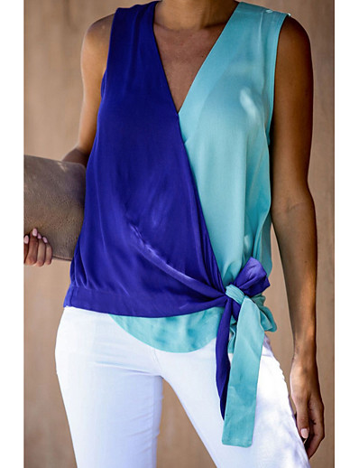 cheap Tank Tops-Women's Tank Top Color Block Criss Cross Patchwork Knotted Sleeveless Tops V Neck Blue Red Orange