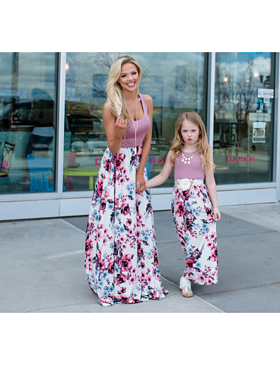 cheap Family Matching Outfits-Mommy and Me Basic Boho Floral Sleeveless Maxi Dress Purple