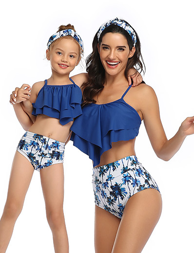 cheap Family Matching Outfits-2 Piece Mommy and Me Active Sweet Tropical Leaf Floral Geometric Color Block Ruffle Print Sleeveless Short Above Knee Swimwear Black