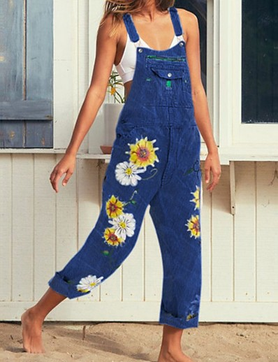 cheap CLOTHING-Summer Floral Print Denim Overalls