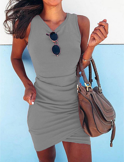 cheap Casual Dresses-Women's Sheath Dress Short Mini Dress - Sleeveless Summer V Neck Casual Slim 2020 Black Blue Fuchsia Green Gray S M L XL XXL