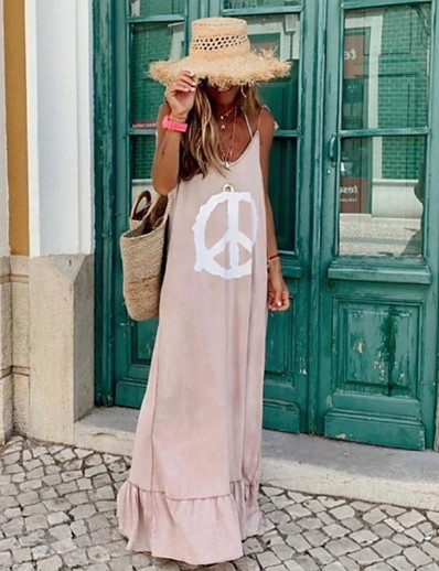 cheap Elegant Dresses-Women's Sheath Dress - Sleeveless Print Summer Elegant 2020 Blushing Pink S M L XL XXL