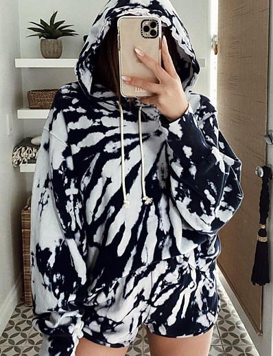 cheap Two Piece Set-Women's Hoodie Striped Basic Black S M L XL XXL